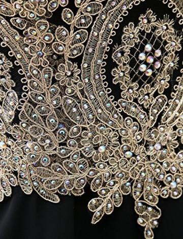Erosebridal Kurz Ballkleid Herzform Brautjungfer Kleid Gold Appliques Schwarz DE40 - 6