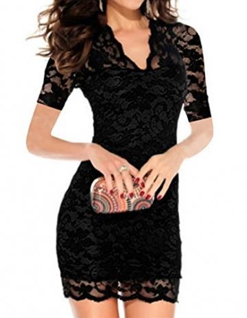 Etuikleid mit Spitze,Sondereu Damen Schlank V-Ausschnitt Blumenspitzenkleid Short Sleeve Hohle Bodycon Partykleid Minikleid Freizeitkleid Cocktailkleid Clubwear Kleid (XL, Schwarz) -