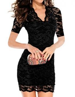 Etuikleid mit Spitze,Sondereu Damen Schlank V-Ausschnitt Blumenspitzenkleid Short Sleeve Hohle Bodycon Partykleid Minikleid Freizeitkleid Cocktailkleid Clubwear Kleid (S, Schwarz) -