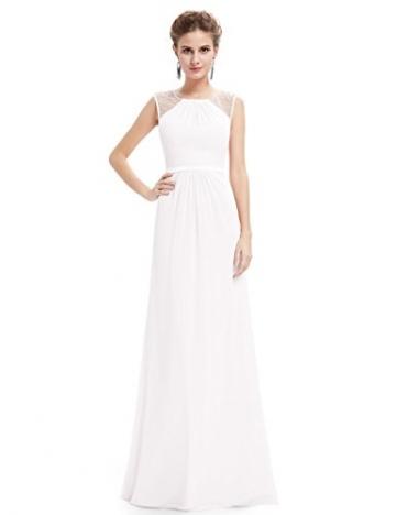 Ever Pretty Damen Elegant Ärmellos Perlen Lang Abendkleider Maxikleider  Größe 48 Weiß - 50a088430b