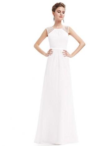 Ever Pretty Damen Elegant Ärmellos Perlen Lang Abendkleider Maxikleider Größe 48 Weiß -