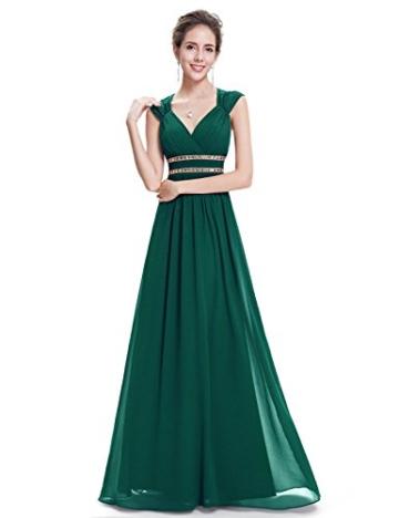 Ever Pretty Damen Elegant V-Ausschnitt Ärmellos Lang Abendkleid 40 Größe Dunkel Grün - 3