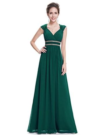Ever Pretty Damen Elegant V-Ausschnitt Ärmellos Lang Abendkleid 40 Größe Dunkel Grün - 4