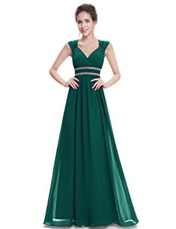 Ever Pretty Damen Elegant V-Ausschnitt Ärmellos Lang Abendkleid 40 Größe Dunkel Grün - 1