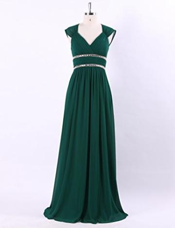 Ever Pretty Damen Elegant V-Ausschnitt Ärmellos Lang Abendkleid 40 Größe Dunkel Grün - 5