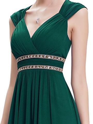 Ever Pretty Damen Elegant V-Ausschnitt Ärmellos Lang Abendkleid 40 Größe Dunkel Grün - 6