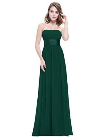 Ever Pretty Damen Empire Taille Schulterfrei Lange Abendkleider Brautjungfernkleid 36 Größe Dunkelgrün - 2