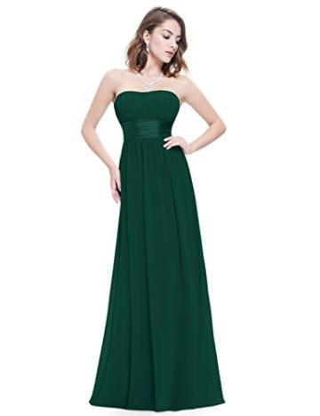 Ever Pretty Damen Empire Taille Schulterfrei Lange Abendkleider Brautjungfernkleid 36 Größe Dunkelgrün - 1