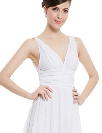 Ever Pretty Damen V-Ausschnitt Lange Chiffon Abendkleider Festkleider 48 Weiß -