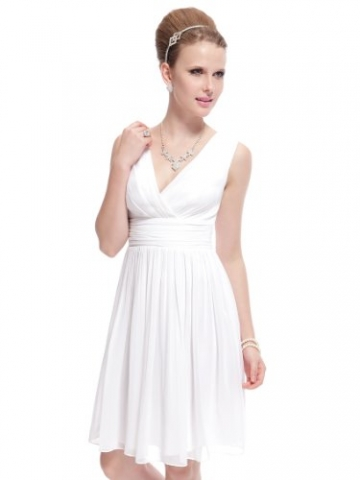 Ever Pretty Doppelt V-Ausschnitt Rueschen an Taille Elfenbein Kurz Damen Party Kleid 38 Weiss EP03989WH06 -