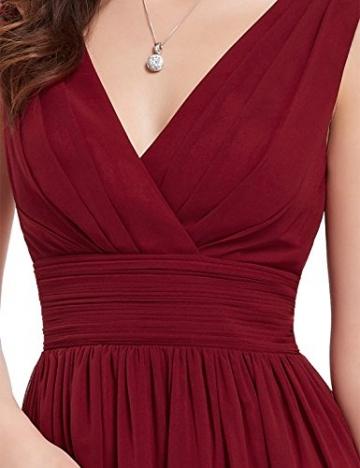 Ever Pretty Doppelt V-Ausschnitt Rueschen an Taille Elfenbein Kurz Damen Party Kleid 44 Rot EP03989BD12 -