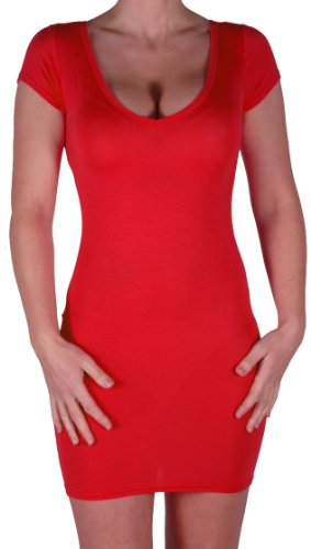 Eyecatch - Annalise Frauen V-Ausschnitt, Flugelarmeln, figurbetontes Stretch Kurz Damen Minikleid Rot Gr. M/L -