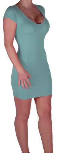 Eyecatch - Annalise Frauen V-Ausschnitt, Flugelarmeln, figurbetontes Stretch Kurz Damen Minikleid Mint Gr. S/M - 5