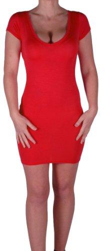 Eyecatch - Annalise Frauen V-Ausschnitt, Flugelarmeln, figurbetontes Stretch Kurz Damen Minikleid Rot Gr. S/M - 4