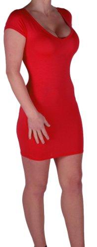 Eyecatch - Annalise Frauen V-Ausschnitt, Flugelarmeln, figurbetontes Stretch Kurz Damen Minikleid Rot Gr. S/M - 5