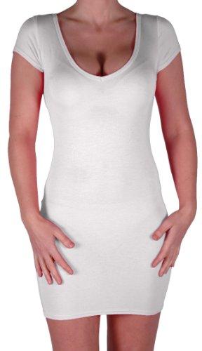 Eyecatch - Annalise Frauen V-Ausschnitt, Flugelarmeln, figurbetontes Stretch Kurz Damen Minikleid White Gr. S/M - 3