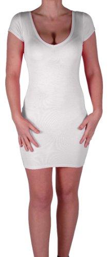Eyecatch - Annalise Frauen V-Ausschnitt, Flugelarmeln, figurbetontes Stretch Kurz Damen Minikleid White Gr. S/M - 4