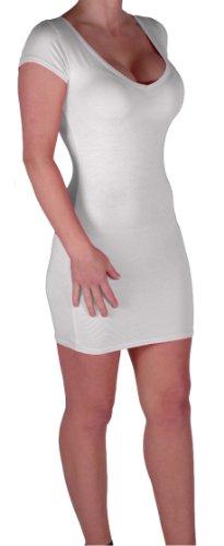 Eyecatch - Annalise Frauen V-Ausschnitt, Flugelarmeln, figurbetontes Stretch Kurz Damen Minikleid White Gr. S/M - 5