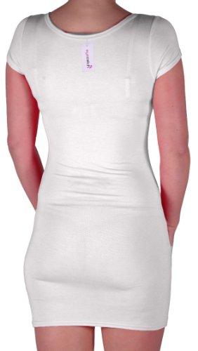 Eyecatch - Annalise Frauen V-Ausschnitt, Flugelarmeln, figurbetontes Stretch Kurz Damen Minikleid White Gr. S/M - 6