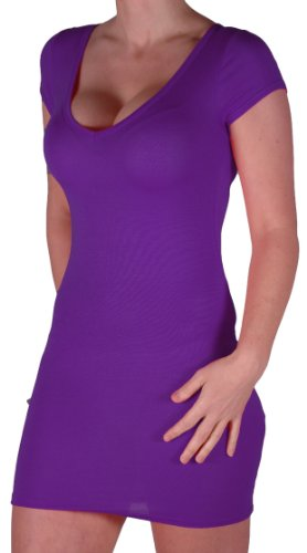 Eyecatch - Annalise Frauen V-Ausschnitt, Flugelarmeln, figurbetontes Stretch Kurz Damen Minikleid Purple Gr. S/M - 2