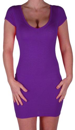 Eyecatch - Annalise Frauen V-Ausschnitt, Flugelarmeln, figurbetontes Stretch Kurz Damen Minikleid Purple Gr. S/M - 3