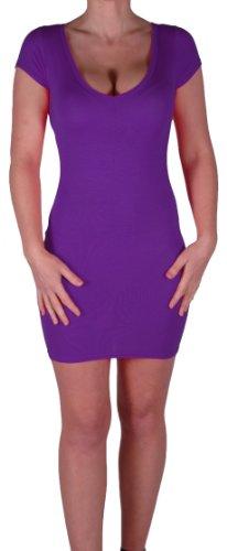 Eyecatch - Annalise Frauen V-Ausschnitt, Flugelarmeln, figurbetontes Stretch Kurz Damen Minikleid Purple Gr. S/M - 4
