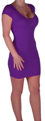 Eyecatch - Annalise Frauen V-Ausschnitt, Flugelarmeln, figurbetontes Stretch Kurz Damen Minikleid Purple Gr. S/M - 5
