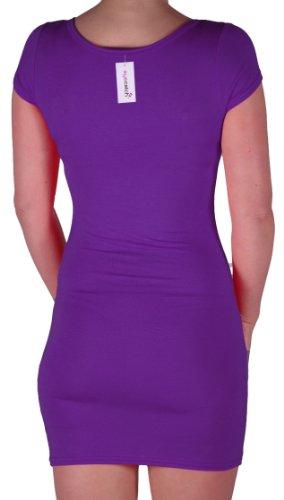 Eyecatch - Annalise Frauen V-Ausschnitt, Flugelarmeln, figurbetontes Stretch Kurz Damen Minikleid Purple Gr. S/M - 6