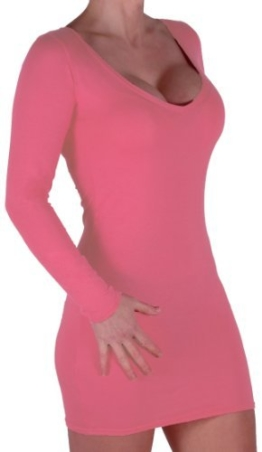 Eyecatch - Rachel Damen Mit V-Ausschnitt, Figurbetontes Stretch Short Frauen Minikleid Koralle Gr. S/M - 1