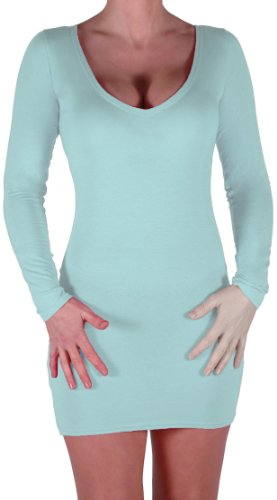 Eyecatch - Rachel Damen Mit V-Ausschnitt, Figurbetontes Stretch Short Frauen Minikleid Mint Grun Gr. S/M - 3