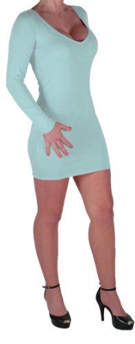 Eyecatch - Rachel Damen Mit V-Ausschnitt, Figurbetontes Stretch Short Frauen Minikleid Mint Grun Gr. S/M - 4