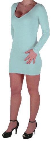 Eyecatch - Rachel Damen Mit V-Ausschnitt, Figurbetontes Stretch Short Frauen Minikleid Mint Grun Gr. S/M - 5