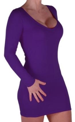 Eyecatch - Rachel Damen Mit V-Ausschnitt, Figurbetontes Stretch Short Frauen Minikleid Purple Gr. M/L - 1