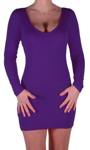 Eyecatch - Rachel Damen Mit V-Ausschnitt, Figurbetontes Stretch Short Frauen Minikleid Purple Gr. M/L - 3