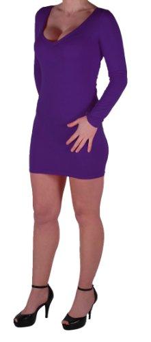 Eyecatch - Rachel Damen Mit V-Ausschnitt, Figurbetontes Stretch Short Frauen Minikleid Purple Gr. M/L - 5