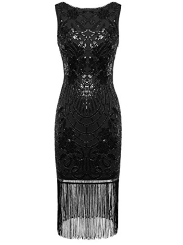 FAIRY COUPLE 1920er Gatsby Pailletten verziert Quasten Saum Flapper Kleid D20S015 (L, Glam Schwarz) - 1