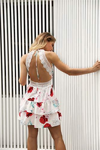 Fanessy. V Ausschnitt Kleid Damen Spitzenkleid Träger Rückenfreies Sommerkleid Kurz Strandkleider Blumen Sommer Sexy V Ausschnitt Ärmellos Boho Minikleid Partykleid Abendkleid Cocktailkleid - 6