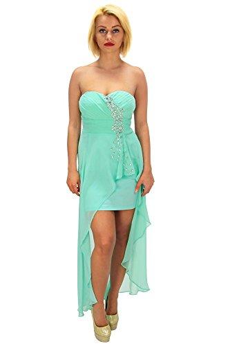 Fashion4Young Damen Vokuhila-Minikleid Kleid Chiffon dress verfügbar in vielen Modelle 3 Größen (M = 38, Türkisgrün) - 1