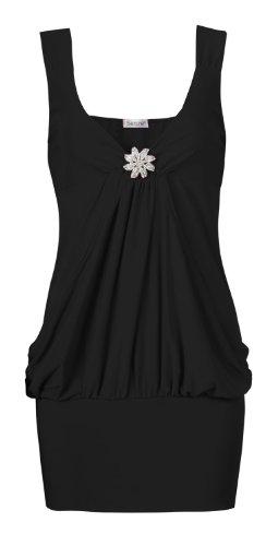 Fast Fashion Damen Armellose Anschneiden Ausführlich Drapieren Artebenen Partei Top (ML = 40/42, Schwarz) - 1