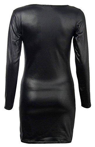 Fast Fashion Damen Kleid Plus Size Wetlook Dehnbar Bodycon Midi -