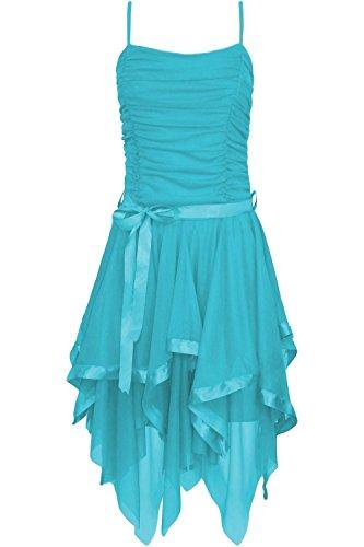 Fast Fashion Frauen Kleid Plain Zickzack Chiffon Prom Party Saum Mit Rüschen Gürtel Tie -