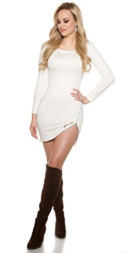 Feinstrick-Kleid mit Spitze und Zip by In-Stylefashion creme -