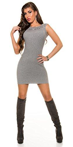 Feinstrick-Kleid mit Strasssteinchen by In-Stylefashion grau -