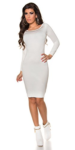 Feinstrick- Kleid mit Totenkopf by In-Stylefashion creme -