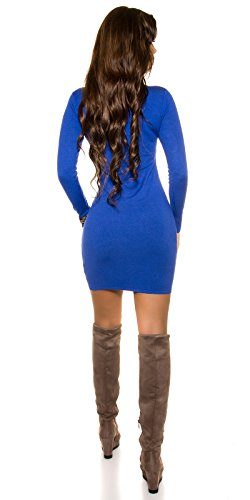 Feinstrick Minikleid mit sexy Dekolteé by In-Stylefashion blau -