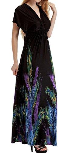 Feoya Damen Kleid Blumenmuster Feder Drucken Sommerkleid mit hoher Taille Ärmellos Kleider mit V-Ausschnitt Maxikleider Bohemian Strandkleid asiatische Größe 4XL - Schwarz -