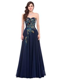 Festkleider für Damen Hochzeit bodenlange Kleider elegant perlen Kleid a Linie Kleid Abendkleid 46 CL675-2 - 1