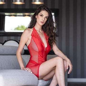 FETkleid Partykleid für Damen, Wetlook Mini Sexy Kleider, Ärmelloses Rotes Party Kleid mit V-Ausschnitt. Clubwear Mesh Einsätze auf Beiden Seiten - 4