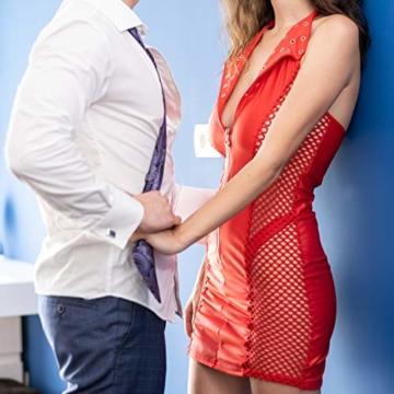 FETkleid Partykleid für Damen, Wetlook Mini Sexy Kleider, Ärmelloses Rotes Party Kleid mit V-Ausschnitt. Clubwear Mesh Einsätze auf Beiden Seiten - 5