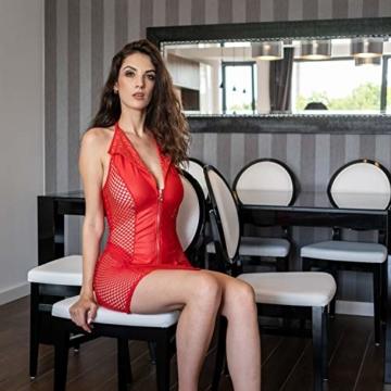 FETkleid Partykleid für Damen, Wetlook Mini Sexy Kleider, Ärmelloses Rotes Party Kleid mit V-Ausschnitt. Clubwear Mesh Einsätze auf Beiden Seiten - 7